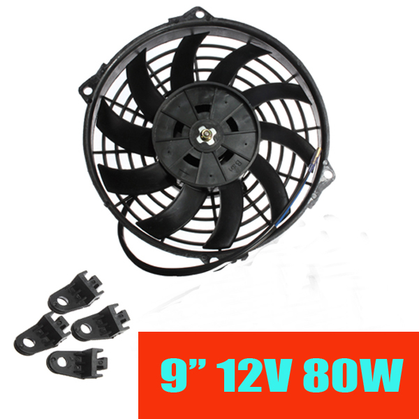 2016 New 9 Inch Universal 12V 80W Slim Reversible Electric Radiator Cooling Fan Push Pull With mounting kit
