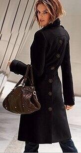 Новинка, модное женское зимнее шерстяное пальто с длинным рукавом, чистый цвет, открытая вилка, пальто, высокое качество, женская одежда, пальто G1514 - Цвет: black