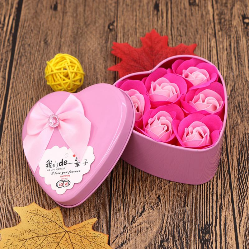 Creative Design Valentine's Day Gift 6pcs/set Birthday Valentine Gift 3 Rose Soap Flower With Lovely Heart Shape Box For Couple
