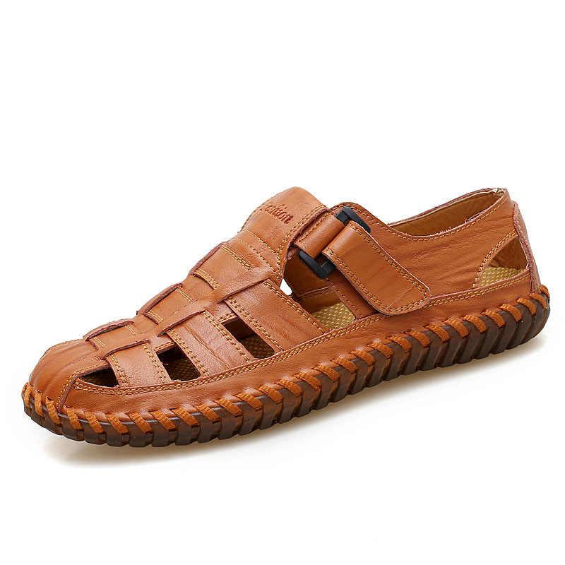 Ekstra Büyük High-end erkek Deri Baotou Sandalet Yaz 45 Genişletilmiş Ekstra Büyük 46 Açık Rahat Serin Ayakkabılar 47 plaj ayakkabısı