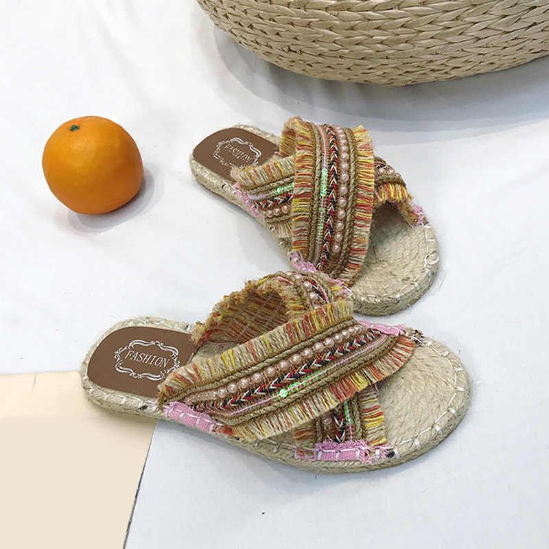 Kadın terlik düz Bohemia keten yaz bayanlar püskül çizgili hasır rahat ayakkabılar kadın moda rahat Flip flop