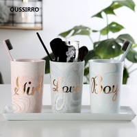 Bathroom Sets Marble Toothbrush Cup Wash Tooth Mug Toothpaste Storage Box High Quality Ceramic Material Wash Cup W2988