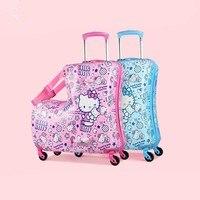 BeaSumore милый мультфильм дети тележка чемоданы на колесах дети Carry On Spinner Сумки на колёсиках дорожная сумка студент школьная сумка
