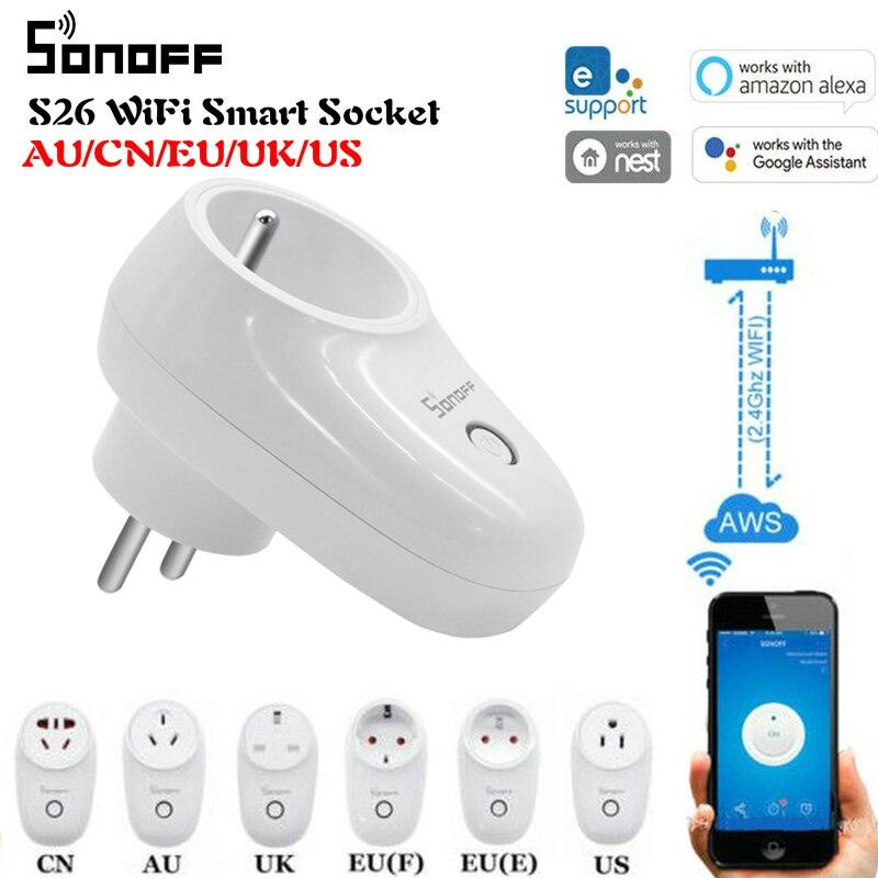Sonoff S26 básico WiFi inteligente del zócalo de energía APP Ewelink es/CN/EU/UK/US inalámbrico macho interruptor de hogar inteligente con Alexa Google asistente
