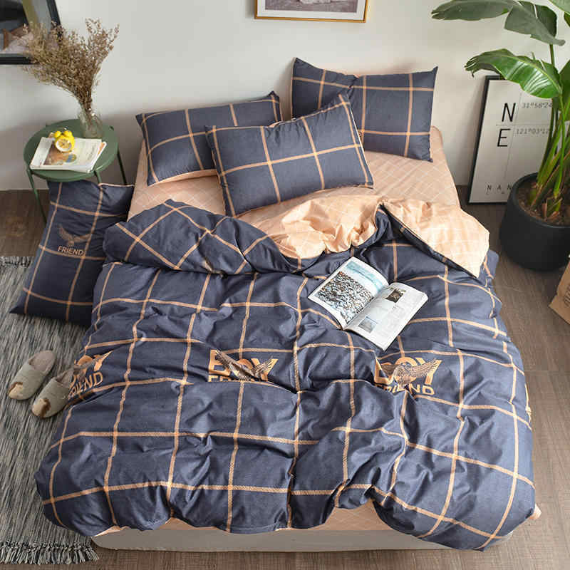 Stripe Plaid Concise Fitted Sheet Duvet Cover Pillow Slip 3/4 pcs Bedding Sets Kids Single Twin Full Queen King Size Quilt Case