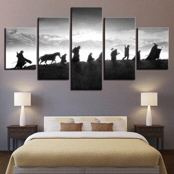HD принты для домашнего декора модульные картины 5 панель Властелин колец персонаж табличка картины на стену холст Современные плакаты >> Beautiful paintings Store