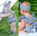 Новый хлопок детские Трико Новорожденный Девушки Горошек Боди Наряды рукавов детская Одежда с оголовьем