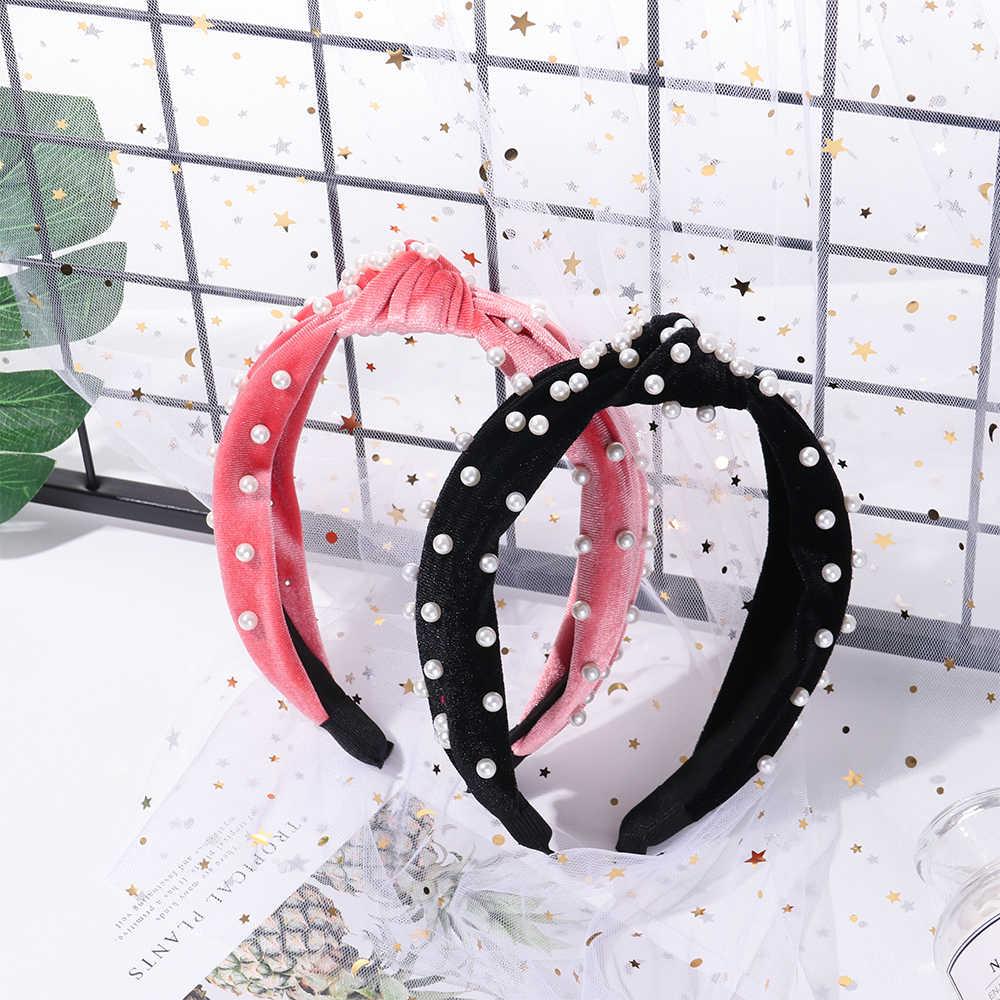 1 шт. мягкий бархат центр узел широкая повязка для волос с жемчугом узлом в богемном стиле однотонные Цвет лентой по индивидуальному заказу аксессуары для волос обруч для волос