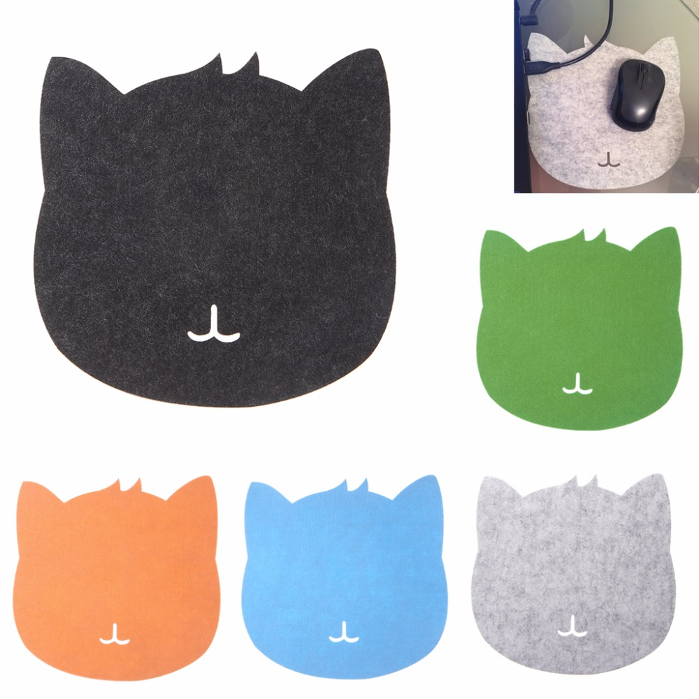 200x200x3mm Universal Thicken Mouse Pad Felt Cloth Cute Cat Shaped Mouse Pad Mat for Computer PC Laptop 5 Colors C26