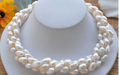"P4277 4row 18""~20"" 13mm white baroque FRESHWATER CULTURED pearl necklace> Wholesale Lovely Women's Wedding Jewelry"