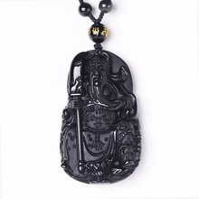 цена на Wholesale Dropshipping Lucky Crystal Guan Yu fine Jewelry Necklace Chinese Carving Natural Obsidian GuanGong Amulet Pendant Gift
