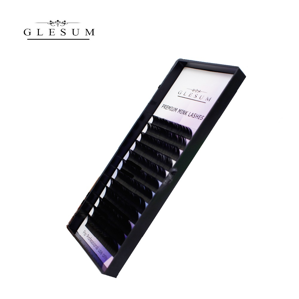 Glesum Free Shipping New All Style Tray Eyelashes Extensions split tips shaped Black Matt Lashes