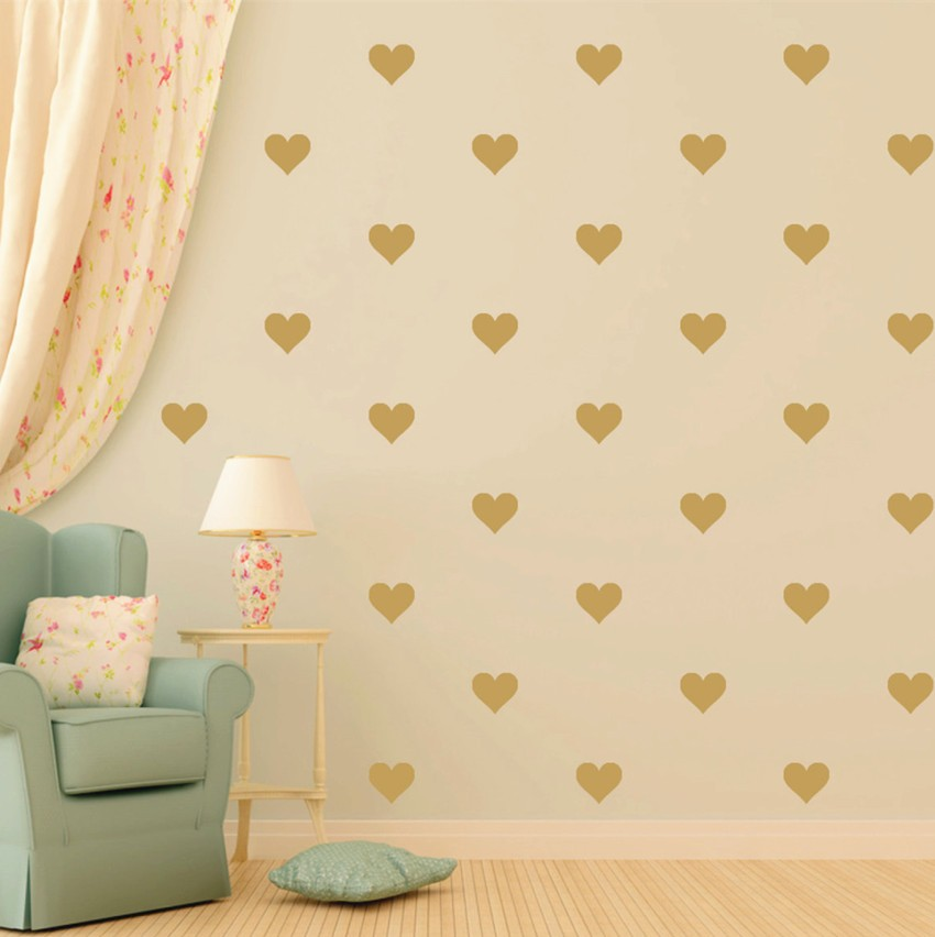 48pcs Gold Heart Pattern Vinyl Wall Decal,removable