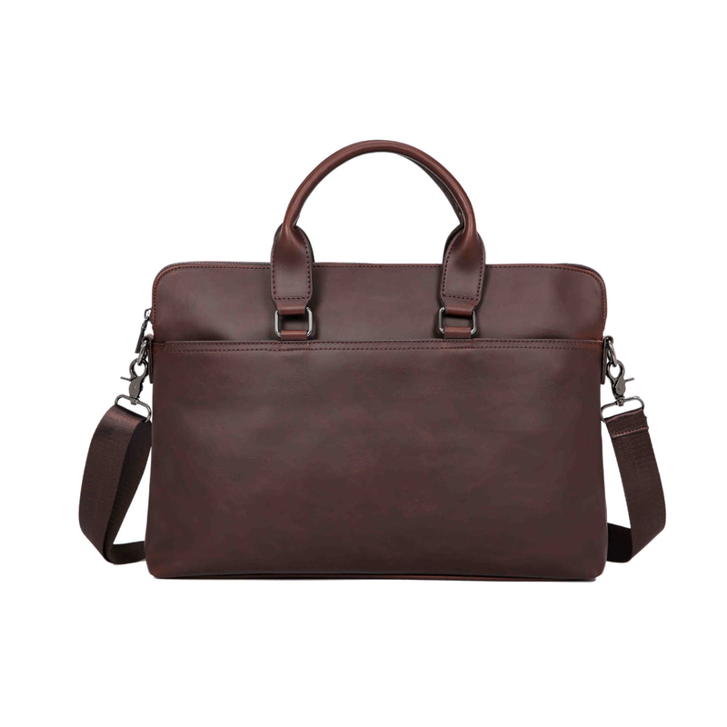 Crazy Horse PU Leather Men Briefcase Men's Messenger Bag Male Laptop Bag Business Fashion Shoulder Bags Travel Bag 14 Inches