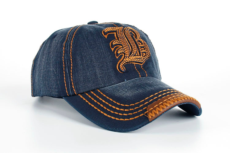 "Embroidered Letter ""B"" Denim Dad Hat - Front Angle View"