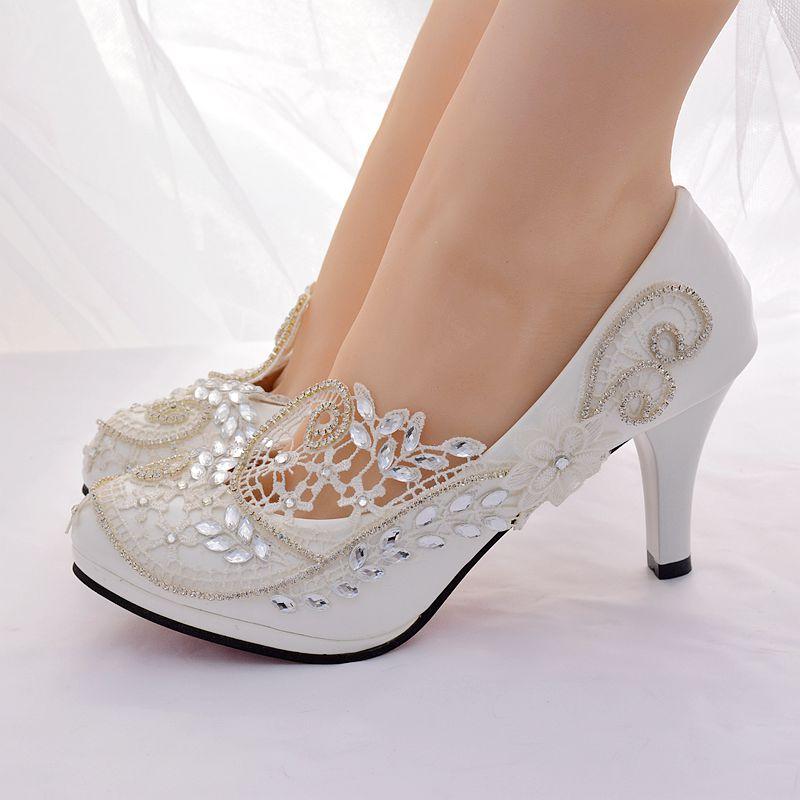 8 cm/5 cm talon ivoire dentelle argent cristal chaussures de mariée plates-formes grande taille HS387 orteils ronds sans lacet demoiselle d'honneur parti pompe