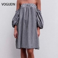 VOGUE! N Nieuwe Womens Dames Zomer Sexy Slash Plaid Controleer Print Mini Jurk