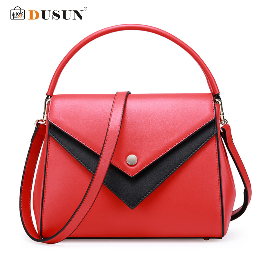 DUSUN Genuine Leather Handbags Women Vintage Messenger Bags Ladies Brand Shoulder Bag Female Designer Bolsa Feminina 2017 New brand designer large capacity ladies brown black beige casual tote shoulder bag handbags for women lady female bolsa feminina