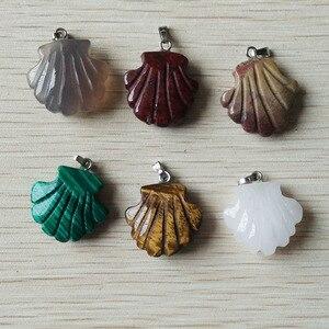 Image 3 - 2019 nieuwe fashion diverse natuursteen gesneden bloem bedels hangers voor sieraden markering 12 stks/partij Groothandel gratis verzending