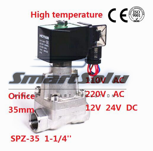 Free shipping SS304 Pilot Piston Normally Closed 220V AC Two Way Solenoid Valve for Air Liquid Steam1-1/4 35mm SPZ-35 PTFE Seal free shipping normally closed solenoid valve 2v025 08 220vac 1 4 high qulity for water air gas 2v sereis two way valve