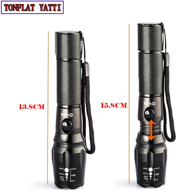 Self-defense 900 LUMEN CREE T6 5-Mode LED Tactical Waterproof Lamp Rechargeable Light Zoomable Full 18650 Battery cree xml t6 led flashlight zoomable defense led lamp 3800lm waterproof 5 mode led torch 18650 rechargeable battery and charger