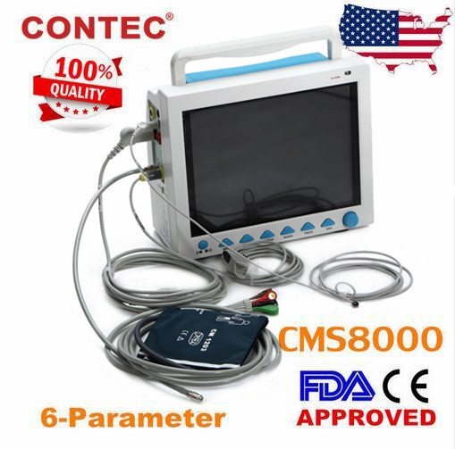 CONTEC CMS8000 Portable Patient Monitor Vital signs ECG NIBP SPO2 RESP TEMP PR 12.1 Inch Vital Signs Monitor replacement for vital signs monitor medical twslb 008 hylb 1049 m3 ecg machines battery