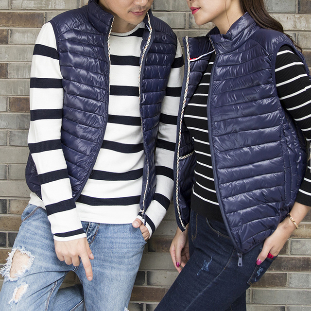 Size S-7XL New fall and winter Male and female fashion boutique pure color stand collar leisure jacket vest / Male casual vest