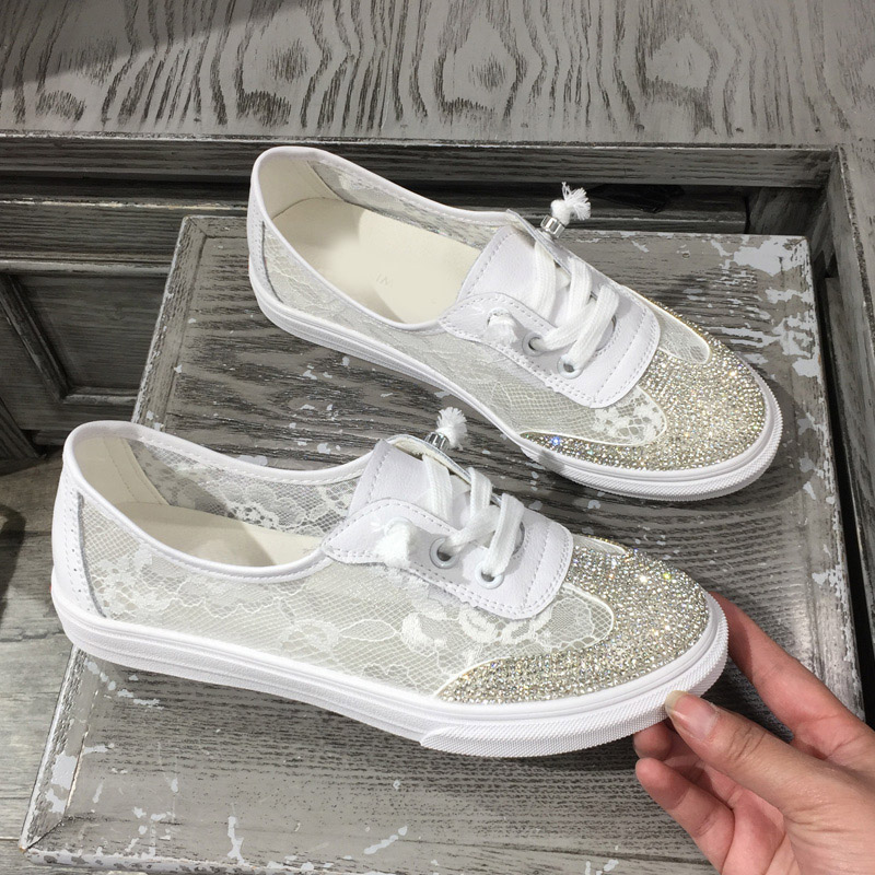 Jookrrix 2018 New Fashion Brand Girl Casual White Shoes Women Crystal Mesh Sneaker Lace Lady Leisure Shoe Youth Cross-tied Flats