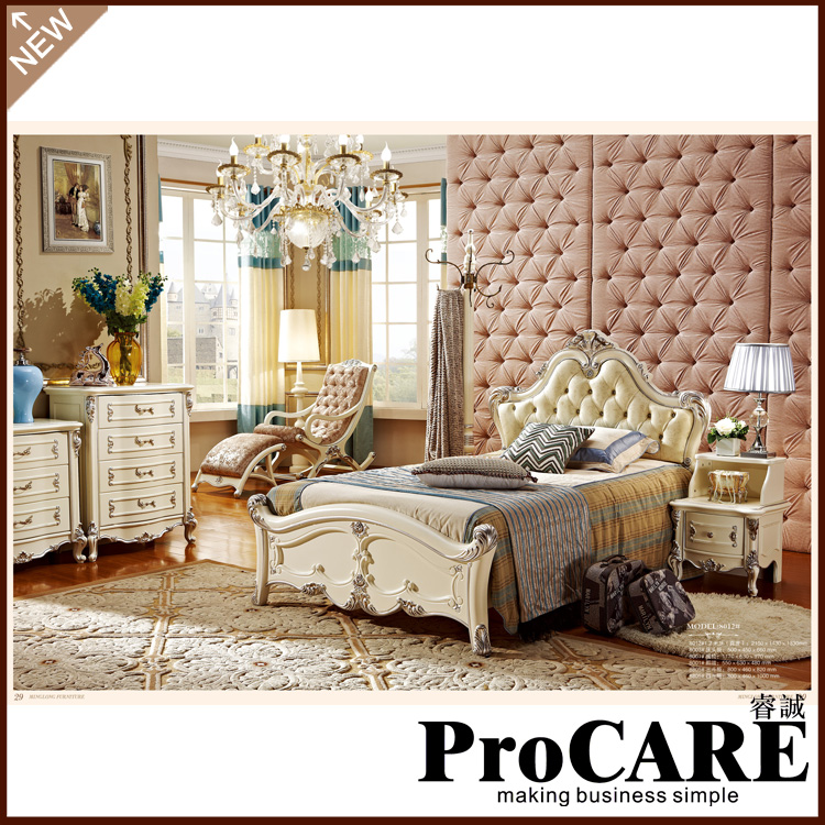 High Quality Antique Bedroom Furniture Set Oak Solid Wood Bedroom Sets