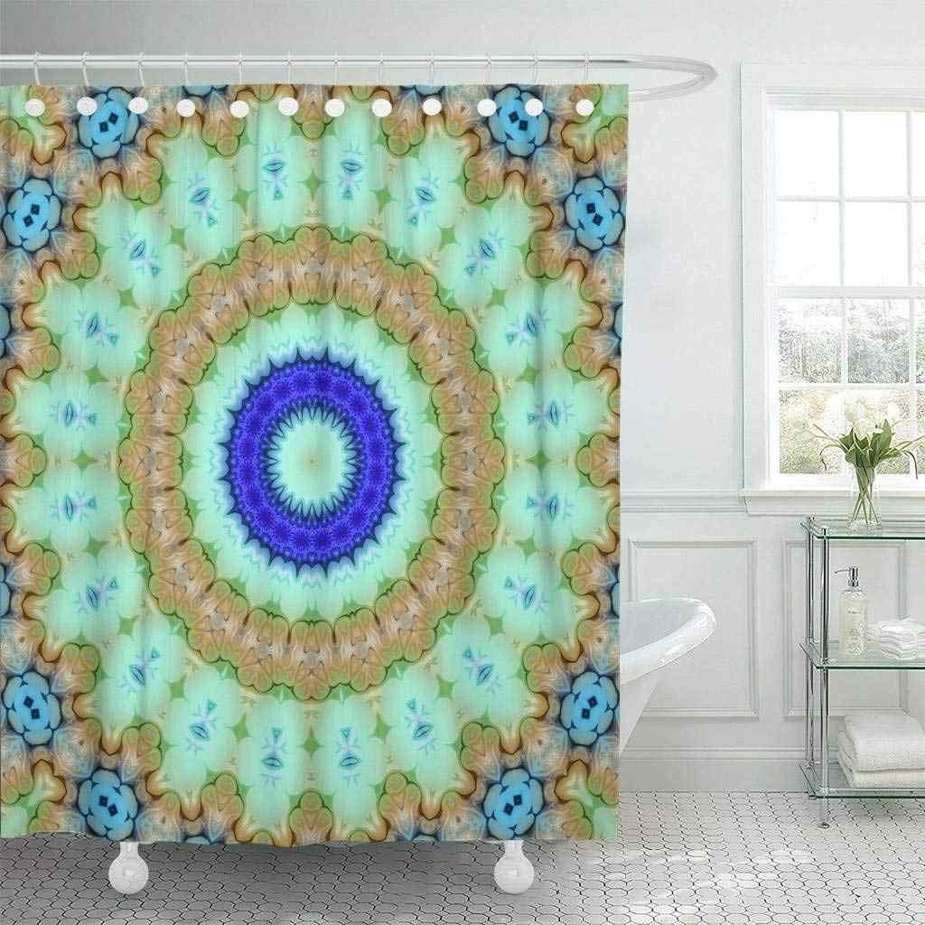 シャワーカーテン浴室カーテンカラフルなアラビア創造抽象色曼荼羅花スタイルラスタガラスサークル宝石バス