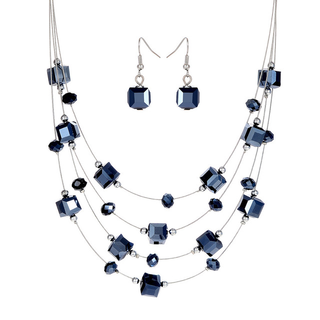 Blue Rhinestone Necklace And Earrings Jewelry Set