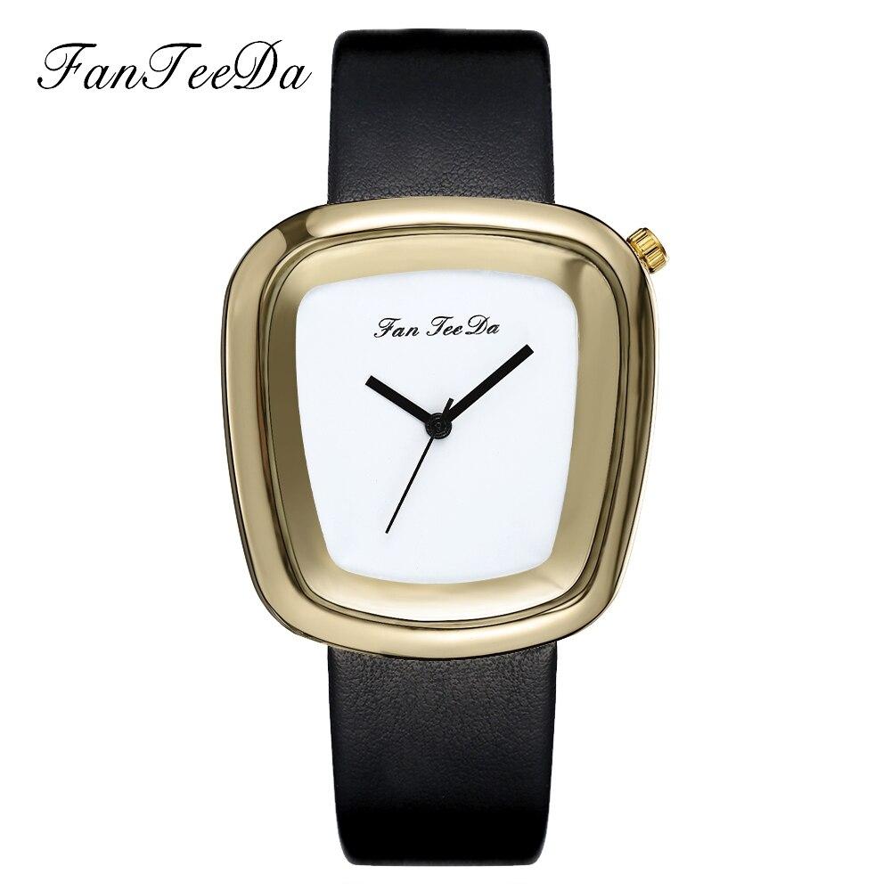 FanTeeDa Brand Luxury Leather Business Strap Gold Wristwatch Women Fashion Casual Watches Sport Gift Dress Quartz Watches