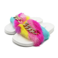Women Slippers Fashion Faux Fur Female House Slide Plush Slipper Mixed Colors Fluffy Flip Flop Furry Mule Lady Flat Shoes Chain
