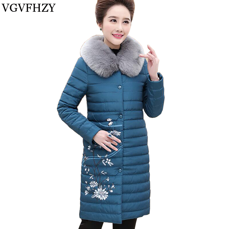2017 New Women   Down     Coats   Detachable Fur Collar Thick Outerwear 90% White Duck   Down   Jackets print Female Long Warm Winter   Coat