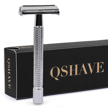 Qshave Double Edge Safety Razor Long Handle Butterfly Open Classic Safety Razor silver color, 1 Handle & 5 blades Razor
