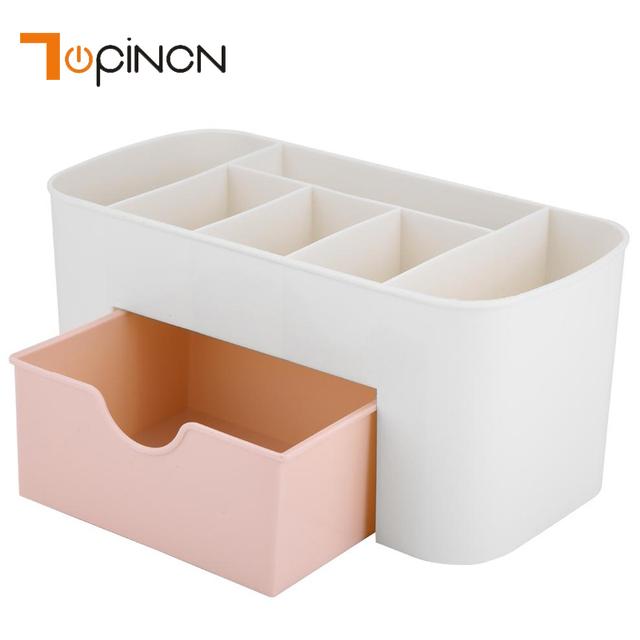Multifunctional Plastic Desk Desktop Organizer Drawer Jewelry Case Cosmetics Cotton Swabs Holder Makeup Organizer Storage Box