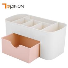 Wielofunkcyjne plastikowe biurko pulpit Organizer szuflada Biżuteria Case Cosmetics bawełna Swabs Holder makijaż Organizer pudełko tanie tanio Z TOPINCN