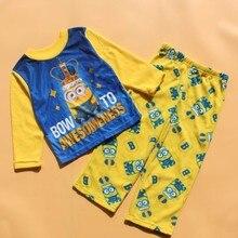 Children pajamas kids minions long sleeve pajamas set yellow color fleece sleepwear kids Christmas clothing 4