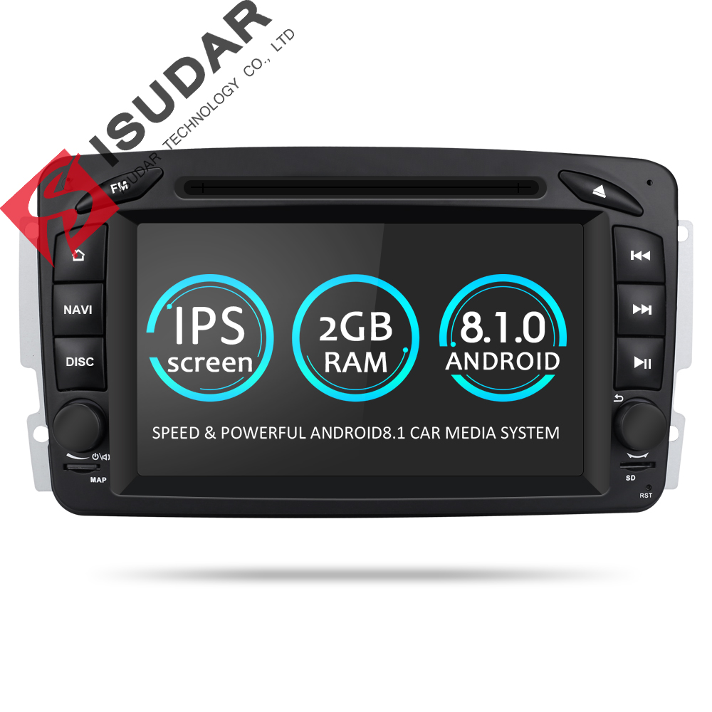 Isudar Voiture Lecteur Multimédia Android 8.1.0 GPS 2 Din DVD Automotivo Pour Mercedes/Benz/W209/W203/ m/ML/W163/Viano/W639/Vito Radio