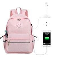 Waterproof Bookbag Backpack Women Headphone and Charging interface High School Student Backpacks Bag for Teenagers Girls