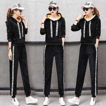 Velvet Warm Winter Autumn 2 Piece Set Tracksuits for Women Outfit Clothing Sportswear Plus Size Hoodies Top Pant Suits Wide Legs orange plus size 2 piece set women pant and top outfit tracksuit sportswear fitness co ord set 2019 summer large big clothing