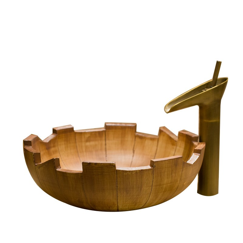Solid Brass Basin Faucets Sets Wooden Luxury Ceramic Lavatory Bathroom Tap Washbasin Sink Bath Combine Mixer Free