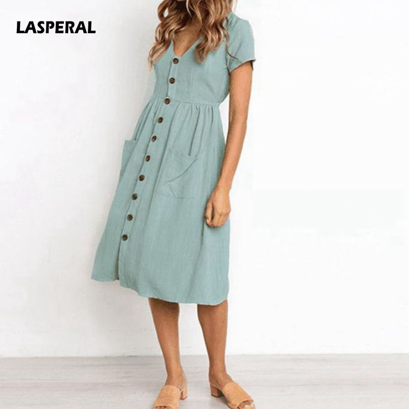b70d3d3627c LASPERAL Women s Fashion Summer Classic Dresses Short Sleeve V Neck Button  Decorative Swing Midi Dresses With
