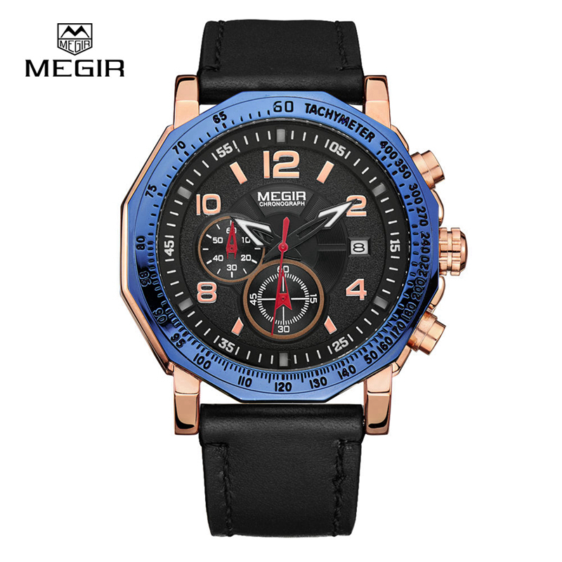 MEGIR Men's Chronograph Casual Watch Luxury Brand Leather Quartz Wrist Watches Military Clock Male Waterproof Sport Watch 2048 megir sport mens watches top brand luxury male leather waterproof chronograph quartz military wrist watch men clock saat 2017