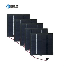 Xinpuguang 5pcs 1 5W 8V 190mA Glass Solar Panel Polysilicon Durable Junction Box for LED Light