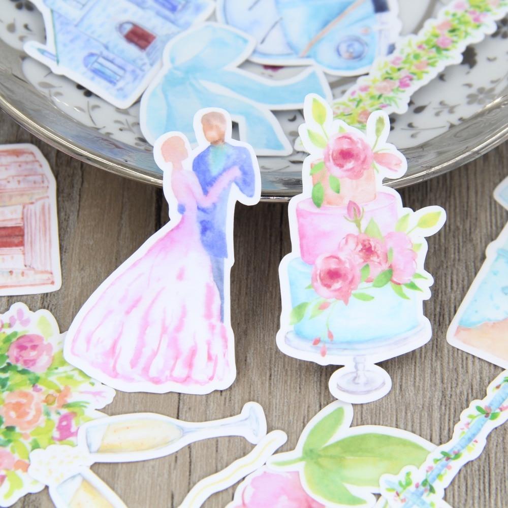 34pcs Watercolor Wedding Party Cake Car Scrapbooking Stickers Decorative Sticker DIY Craft