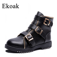 Ekoak New Fashion Classic Autumn Zip Ankle Boots for Women Ladies Metal Buckle Matin Boots Shoes Woman Leather Motorcycle Boots