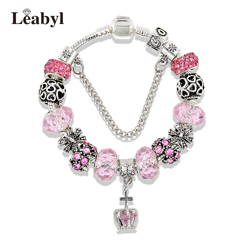 Jewellery & Watches Nice New Silver 20cm Lobster Heart Clasp Charm Bead Snake Chain European Bracelet Fashionable Patterns