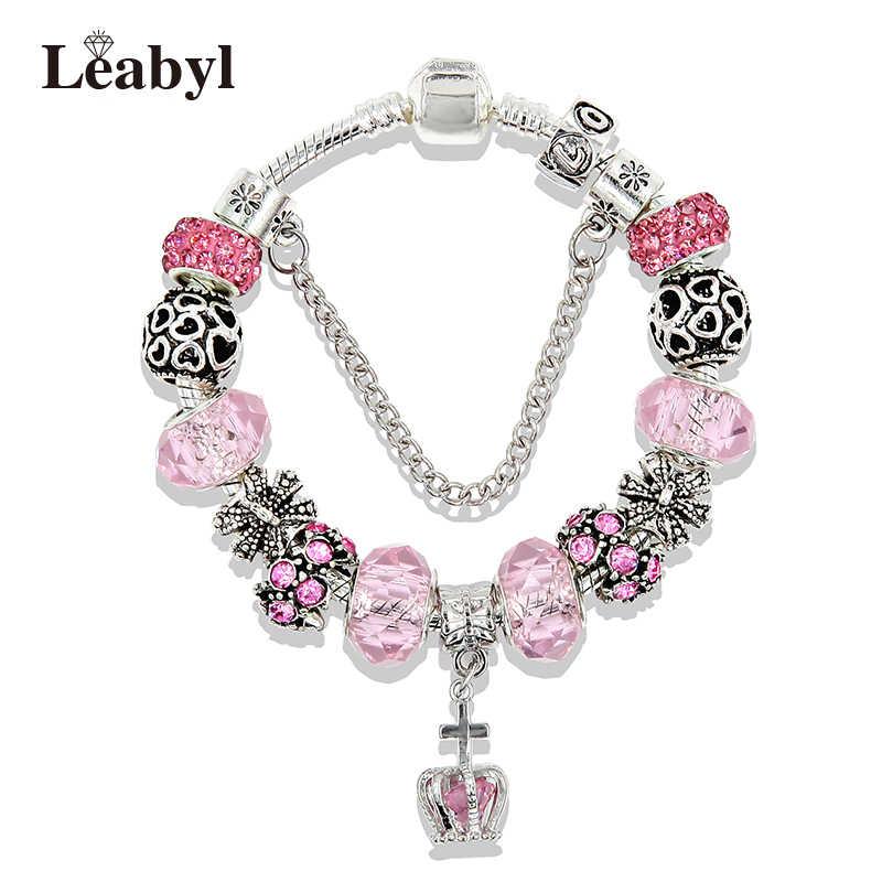 44725886b ... European Royal Crown Charm Pandora Bracelet for Women Pink Crystal Bead  Snake Chain Bracelets Fashion Silver ...