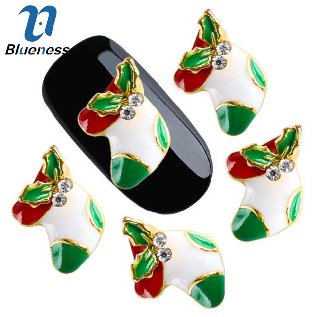 10pcs Lot Red And Green Sching Christmas Stockings Adhesives Rhinestones For Manicure Nail Art